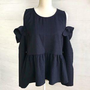 {BP.} Nordstrom Navy plaid cold shoulder blouse, L